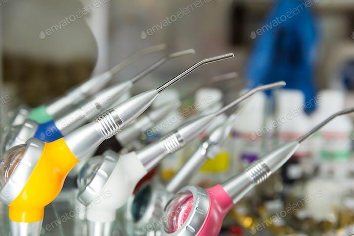 Medicine equipment, dental seat tools closeup