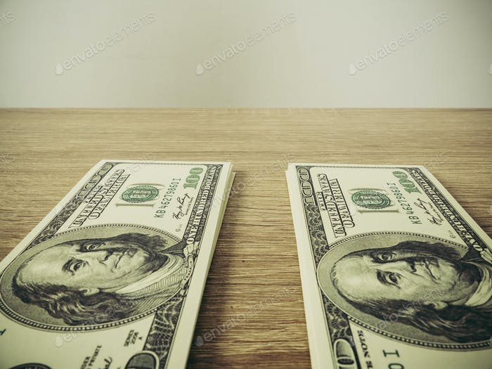 dollar banknote on the table