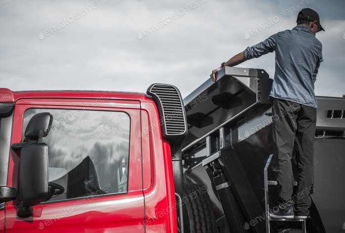 Truck Driver Checking the Load