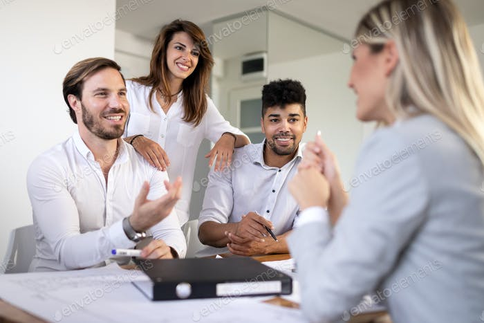 Entrepreneurs and business people working together in office
