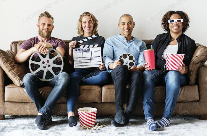 Friends watching movie together