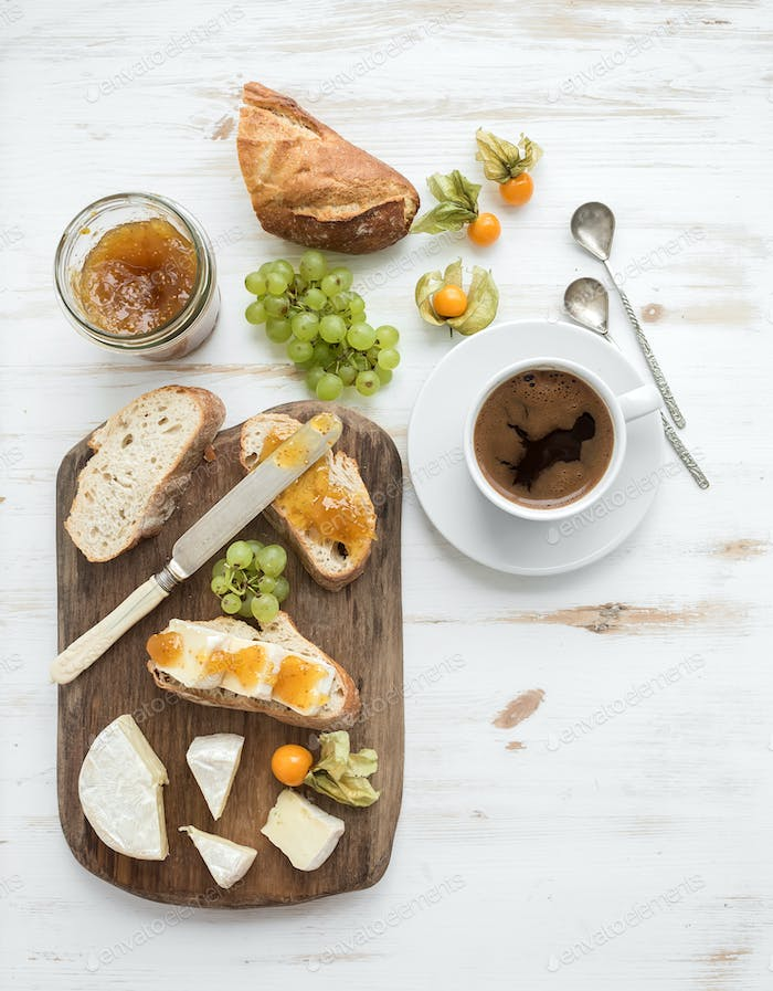Breakfast set. Brie cheese and fig jam sandwiches