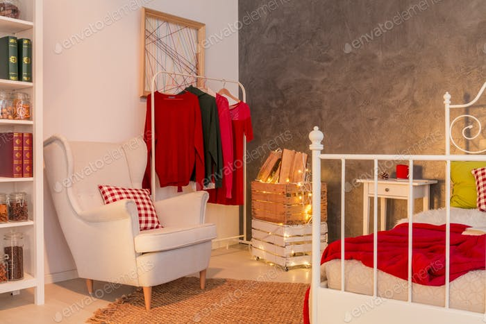Functional room with clothes rack