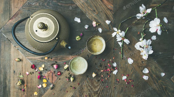 Flat-lay of Traditional Asian tea ceremony arrangement, top view