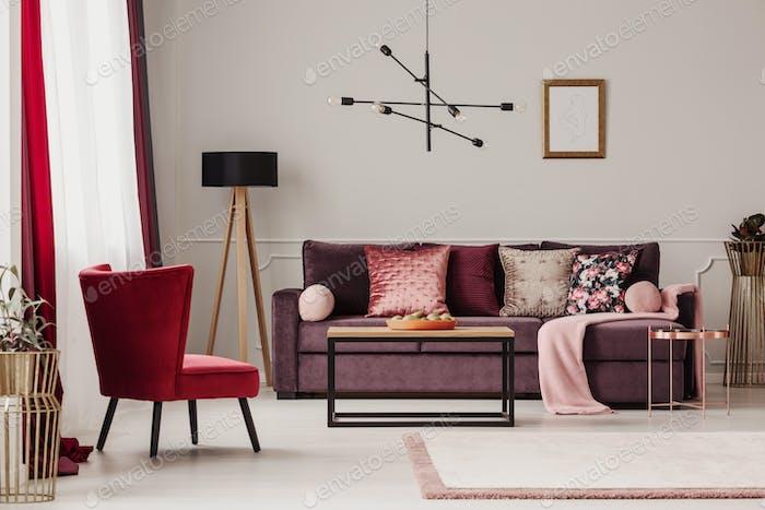 Mockup in living room interior