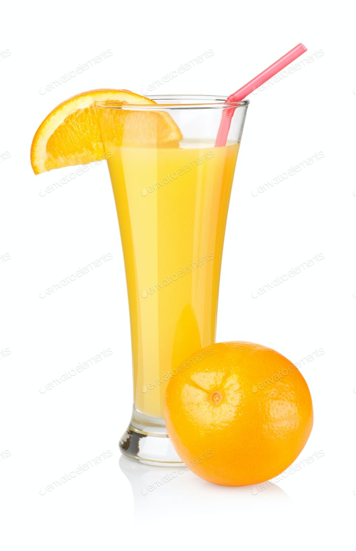 Orange juice in a glass isolated