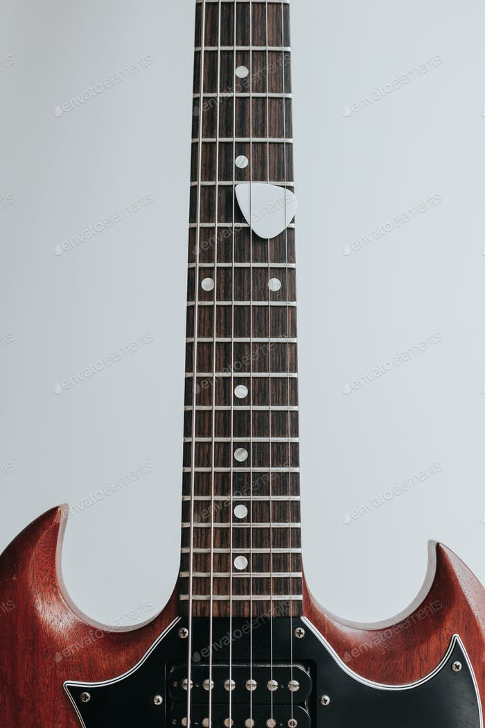 Crop shot of guitar neck