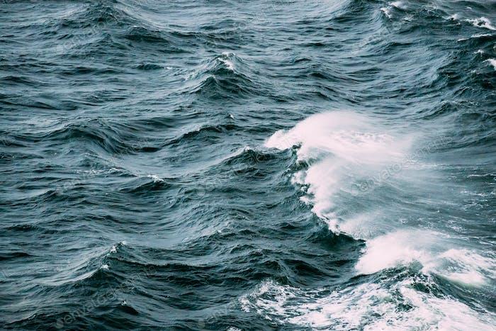 Sea. Ocean Waves In Storm Time. Top View