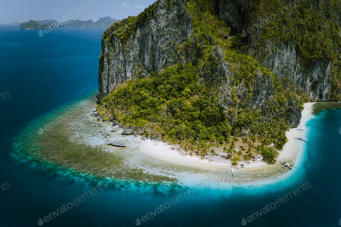 El Nido, Palawan, Philippines. Aerial drone image of epic surreal Pinagbuyutan Island with Ipil