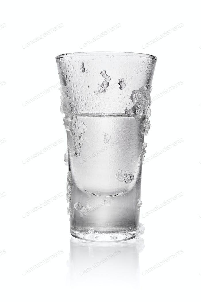 Glass of vodka isolated