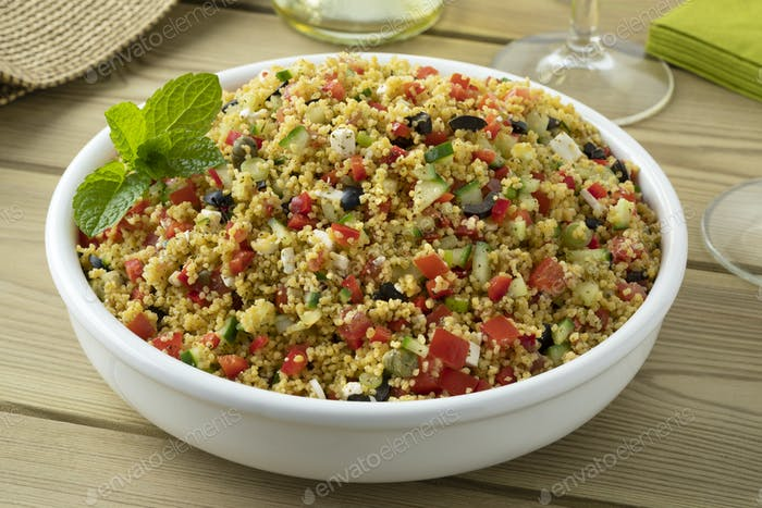 Dish with fresh cooked tabouleh