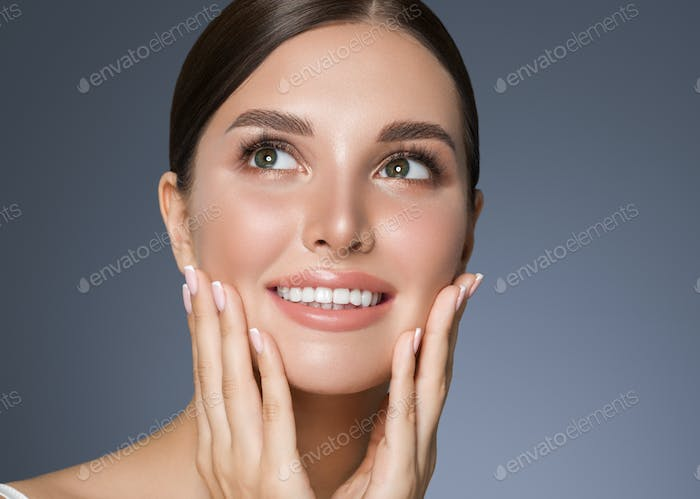Beauty woman healthy teeth smile healthy beautiful skin model face skin care happy female