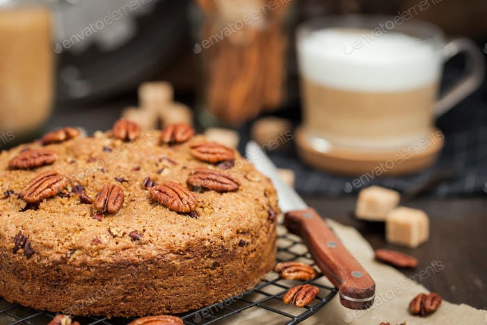 Delicious fresh homemade cinnamon and pecan coffee cake