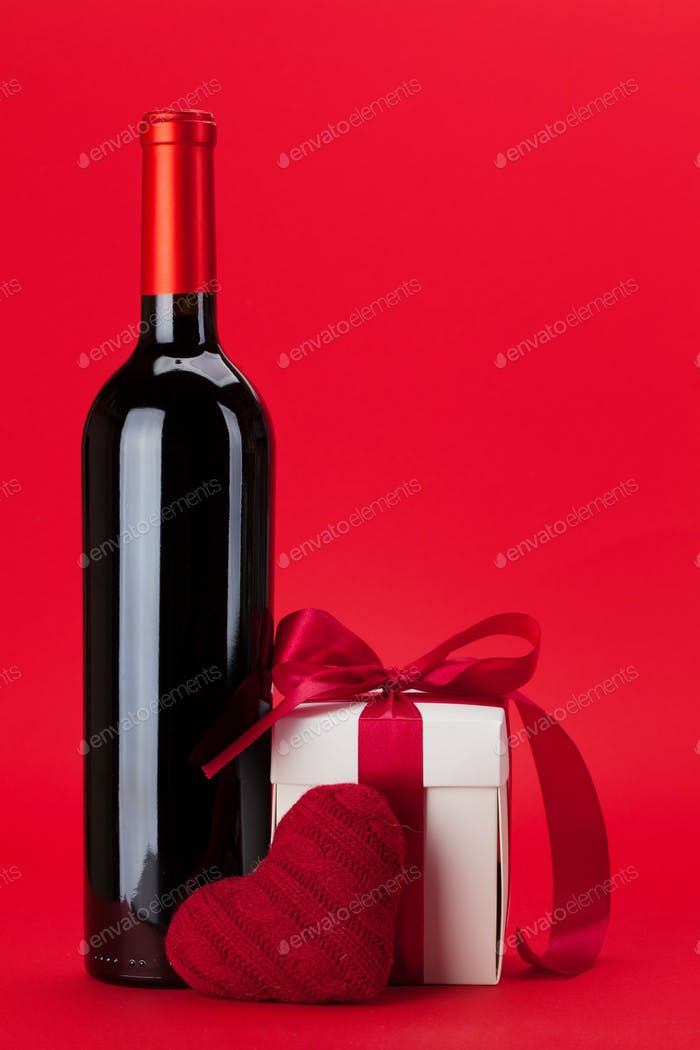 Valentines day gift box and wine