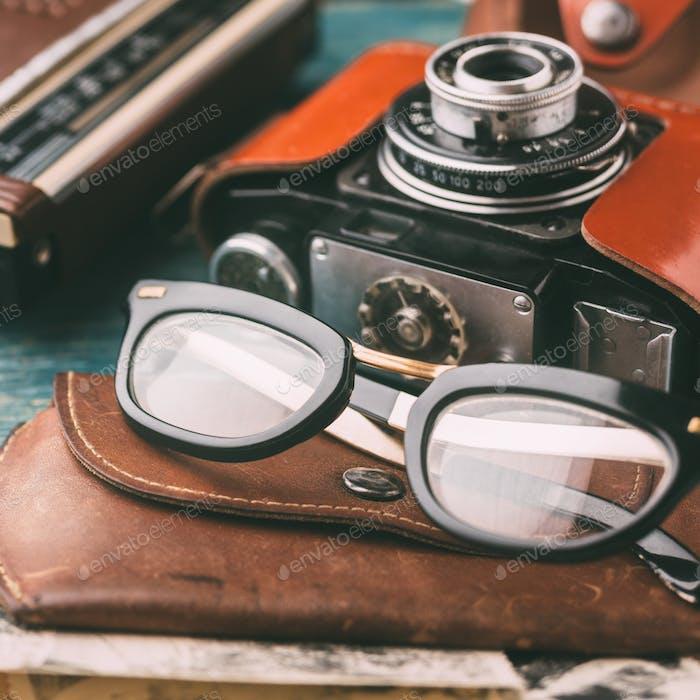 Retro glasses close up