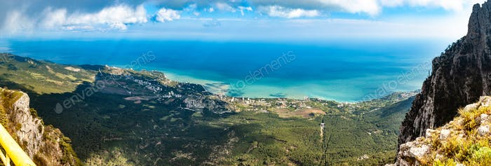 Aerial view of mesmerizing coastal village picturesque panorama