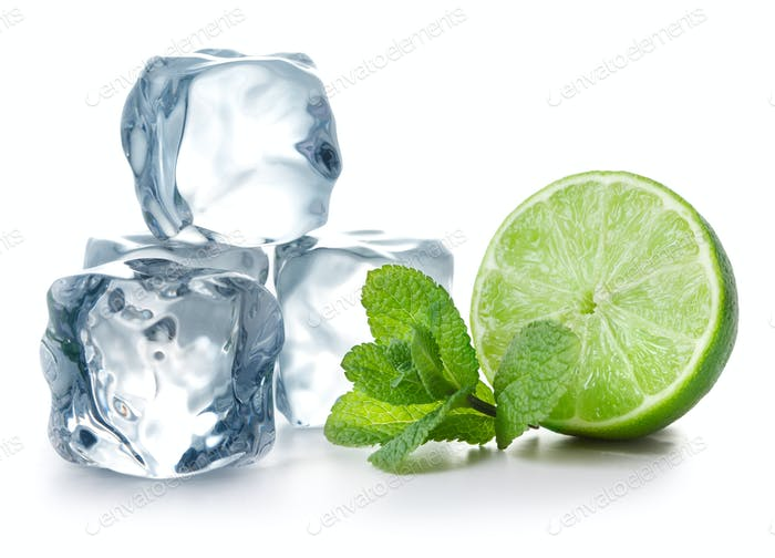 Lime, mint and ice cubes
