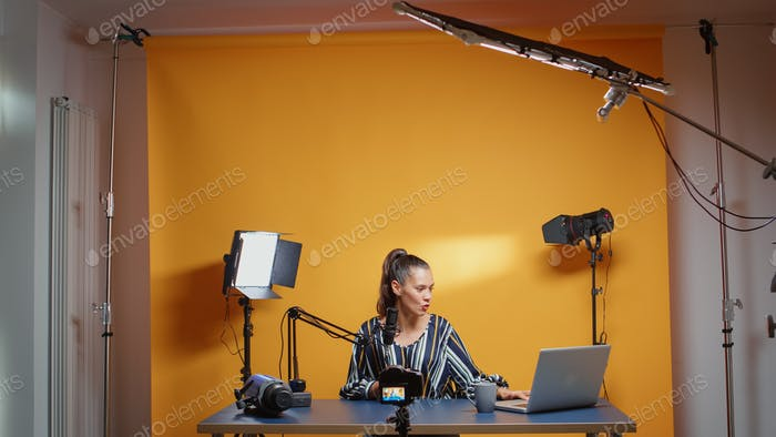 Influencer in her studio recording a new episode