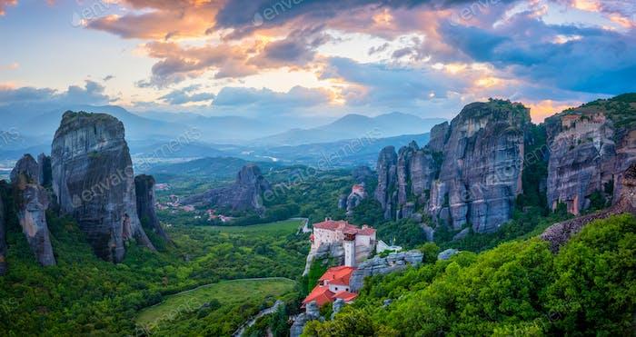 Sunset sky and monasteries of Meteora