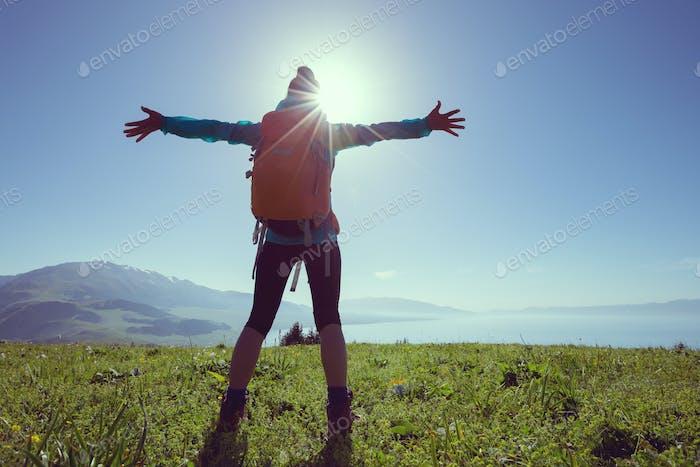 Cheering in beautiful nature