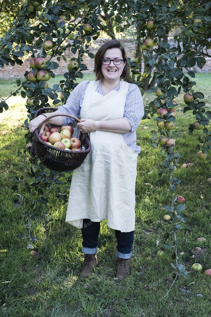 Frau trägt Schürze mit braunem Weidenkorb mit frisch gepflückten Äpfeln, lächelnd in der Kamera.