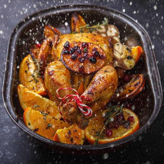 Chicken baked with oranges for Christmas.