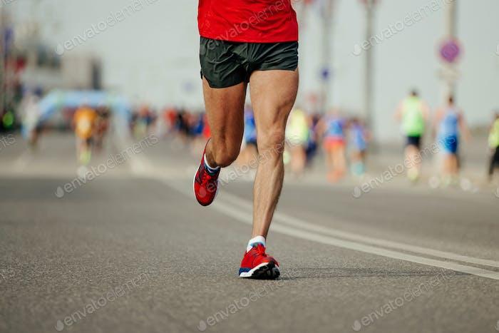 man runner athlete in red t-shirt