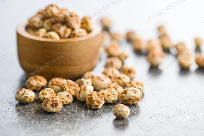 Tiger nuts. Tasty chufa nuts. Healthy superfood.