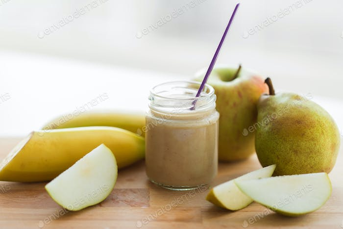 jar with fruit puree or baby food