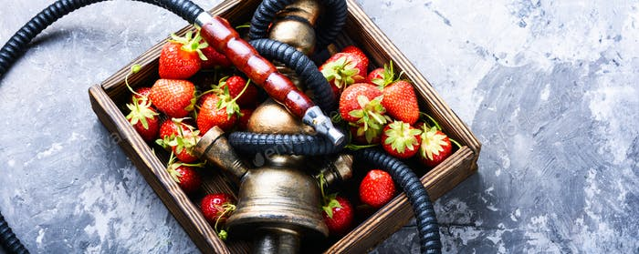 Stylish oriental shisha with strawberry