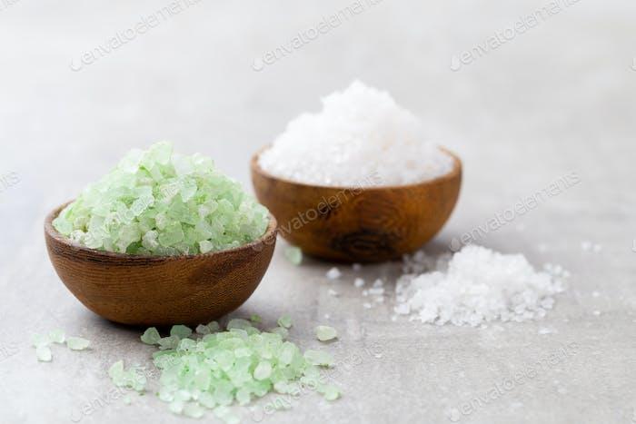Spa setting with natural sea salt.
