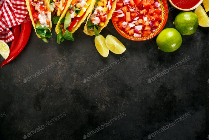 Tasty appetizing tacos with vegetables