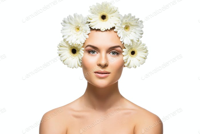 beautiful girl with white flowers on head