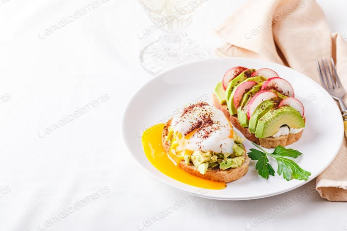 Toast with poached egg and avocado