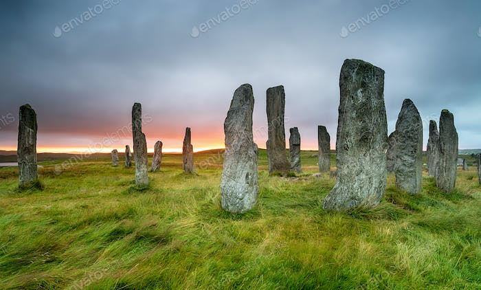 Moody sunset over the Callanish Standing Stones on the Ilse of Lewis