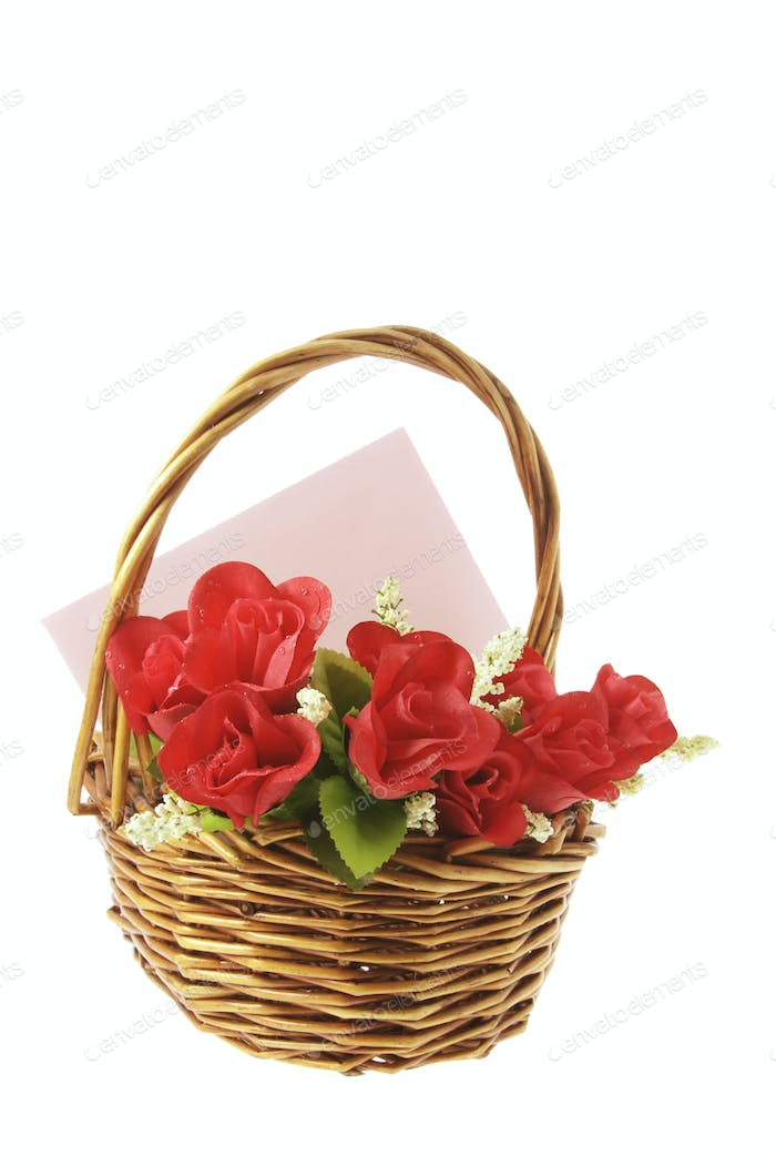 Red Roses and Greetings Card in Basket