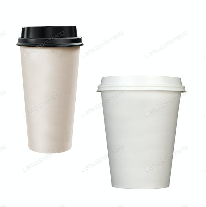 Paper coffee cups isolated on white