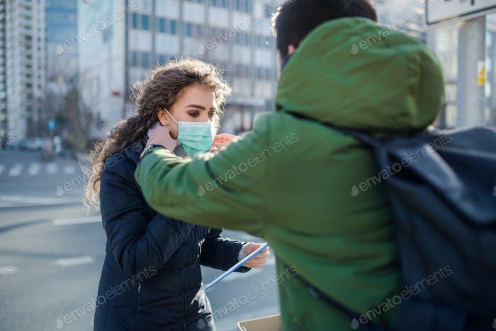 Coronavirus in der Stadt, Prävention und Schutz Konzept.