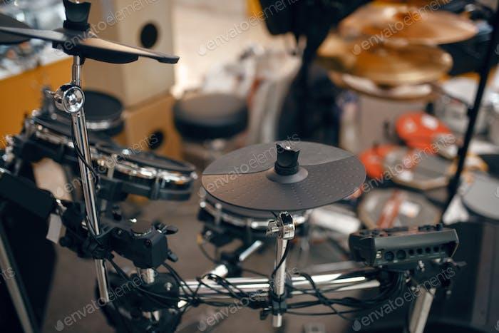 Digital drum set in music store, nobody