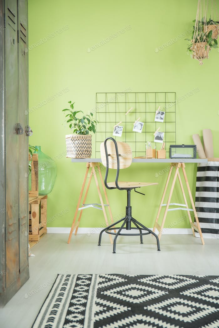 Green home office with desk