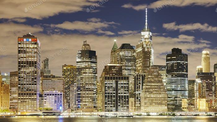 Manhattan at night, New York City, USA