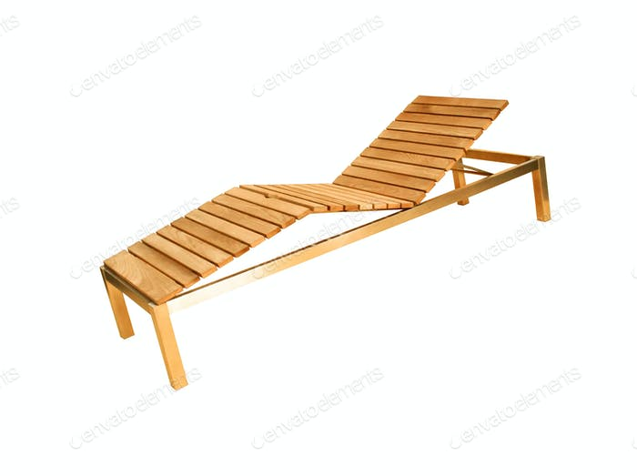 Wooden deck chair isolated