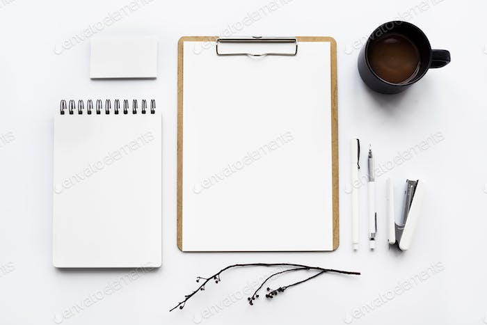 Closeup of notebook isolated on white table