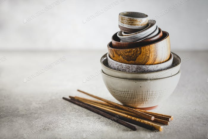 Ceramic and wooden bowls