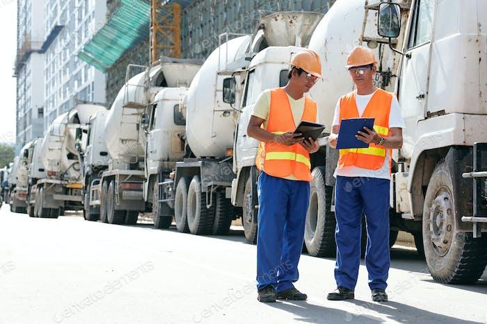 Civil engineers at site