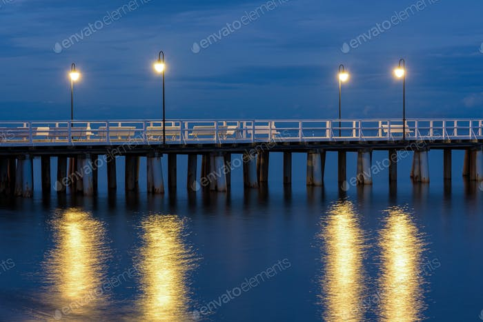 Wooden pier in Gdynia Orlowo in Poland