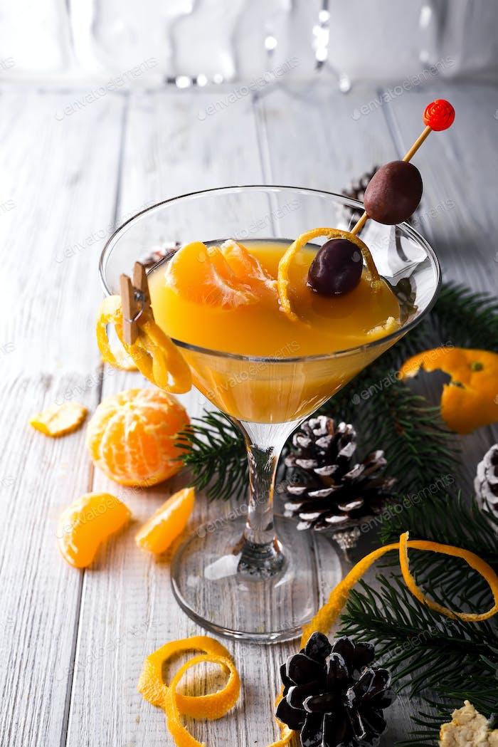 Mandarin martini in a glass of New Year