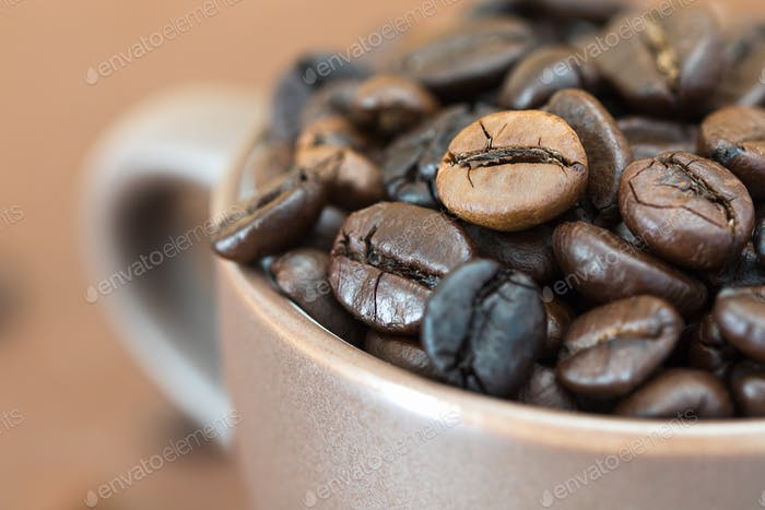 Roasted coffee beans  in coffee cup