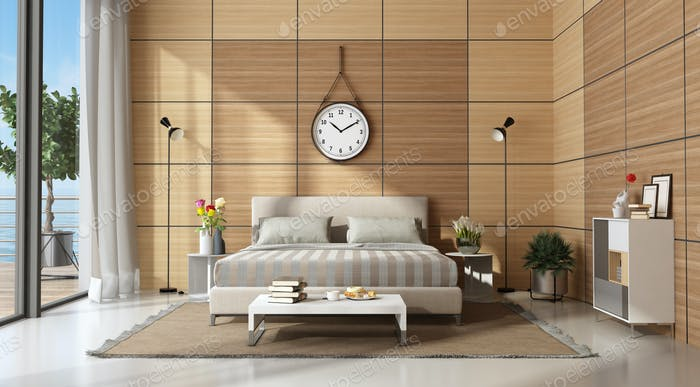 Modern master bedroom with wooden panels