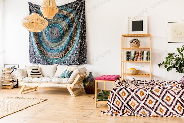 Ethnic accessories in room interior